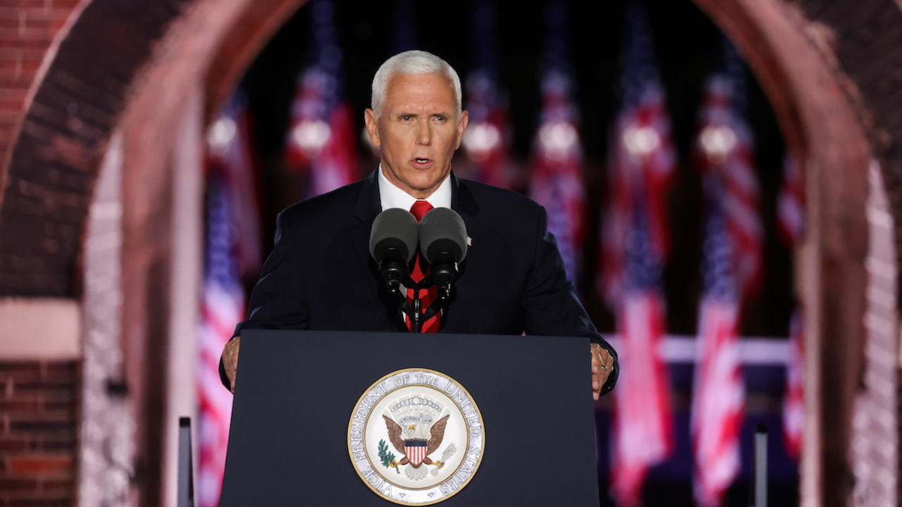 Photo of US Vice President Pence stresses law-and-order message in convention speech